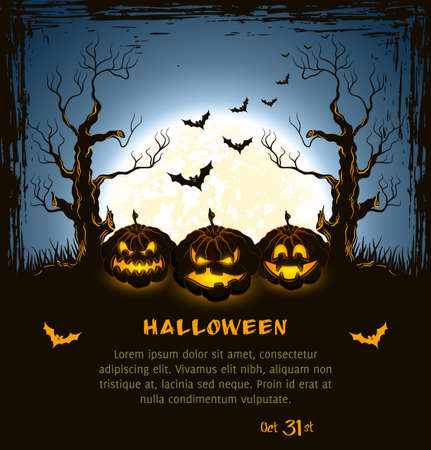 Blue grungy halloween background with spooky pumpkins, full moon, trees and bats Illustration