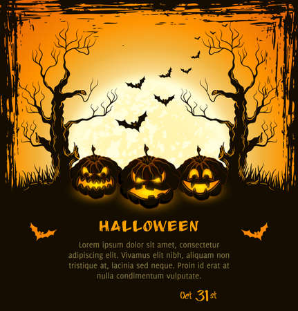 halloween poster: Arancione grungy halloween sfondo con zucche spaventosi, luna piena, alberi e pipistrelli