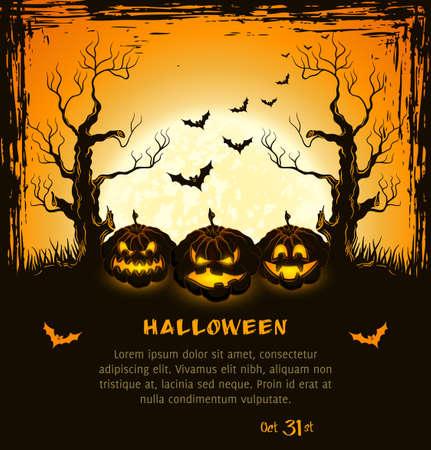 boom halloween: Oranje grungy Halloween achtergrond met enge pompoenen, volle maan, bomen en vleermuizen