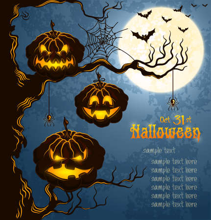 Blue grungy halloween background with scary pumpkins on a tree branch, full moon, and bats