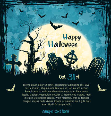 Blue grungy halloween background with full moon, tombstones and bats Stock Vector - 15362634