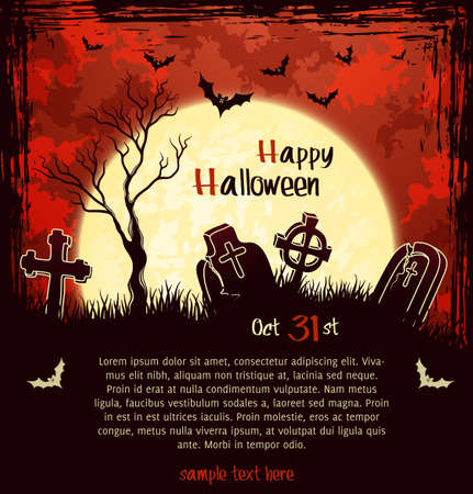 Red grungy halloween background with full moon, tombstones and bats