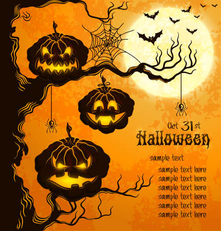 halloween poster: Orange grungy halloween background with scary pumpkins on a tree branch, full moon, and bats
