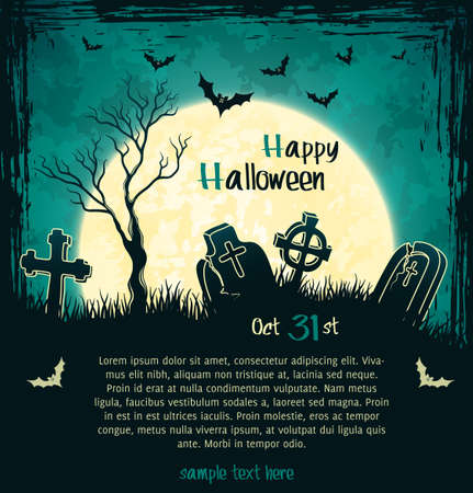 Green grungy halloween background with full moon, tombstones and bats  Vector