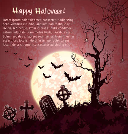 Pink grungy halloween background with full moon, tombstones and bats Vector