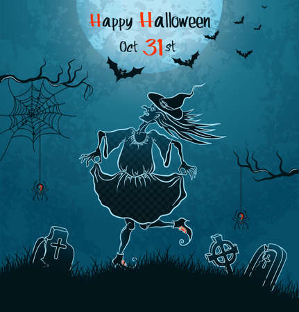 Witch dances on cemetery. Blue grungy halloween background Vector