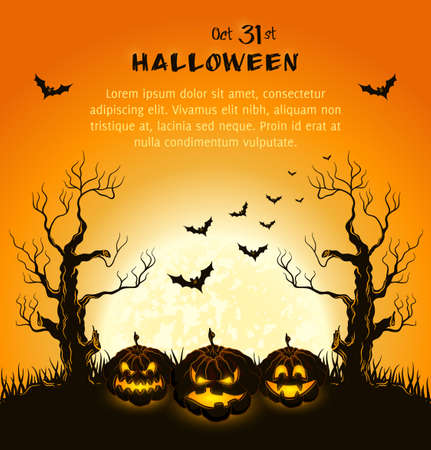 Orange grungy halloween background with spooky pumpkins Stock Vector - 15362552