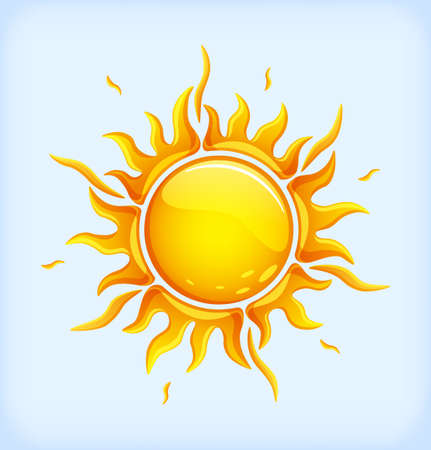 Bright yellow sun in a glossy style Illustration