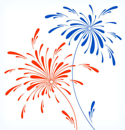Festive firework in honor of Independence day Illustration