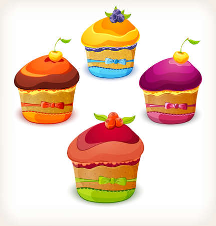 Set of colorful cupcake decorated with berry and bow Illustration
