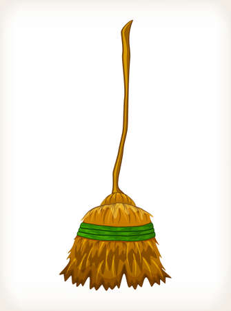 Old straw broom ready to sweep Illusztráció