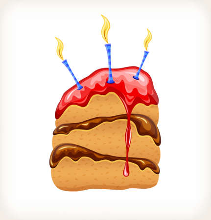 Birthday cake in a glossy style on white background