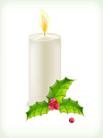 wax glossy: Christmas candles and holly on white background Illustration