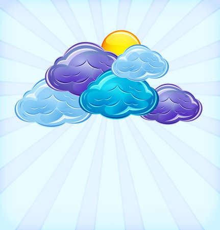 Abstract background. Stylized sky with clouds and hot sun in a glossy style