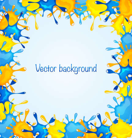 splotch: Abstract background with blue and yellow blots Illustration