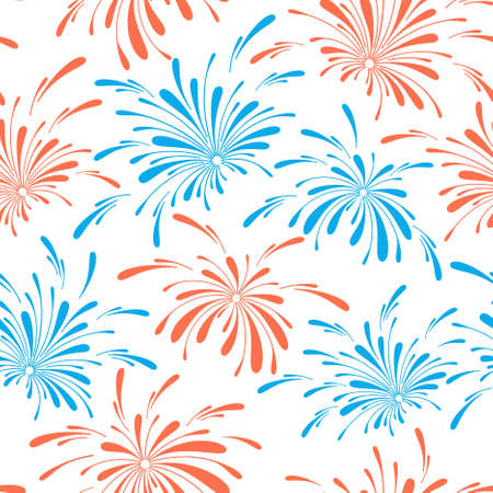 Seamless pattern of holiday fireworks