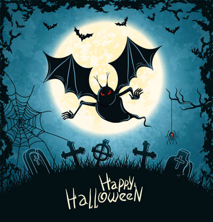 Spooky Vampire On Cemetery Blue Grungy Halloween Background Illustration  Vector