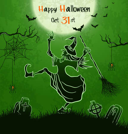 Witch dances with broom on cemetery  Green grungy halloween background  Illustration