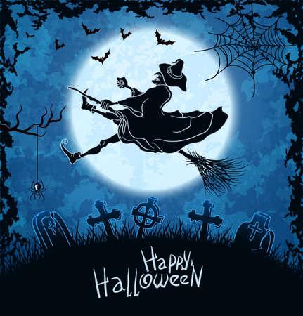 strega che vola: Brutta strega volando sopra cimitero sfondo blu grungy illustrazione halloween