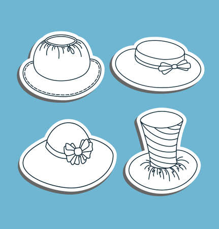 Set of hats in a graphic style  Illustration  Vector