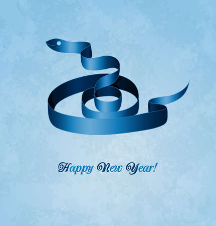 Christmas card with blue snake  2013 new year  Illustration  Vector