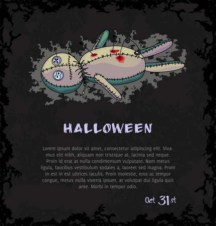 Spooky voodoo doll with pins and blood  Dark grungy halloween background  Illustration