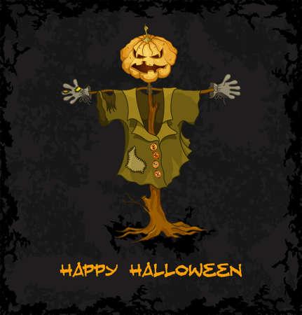 Spooky jack-o-lantern  Dark grungy halloween background  Illustration Stock Vector - 15482755