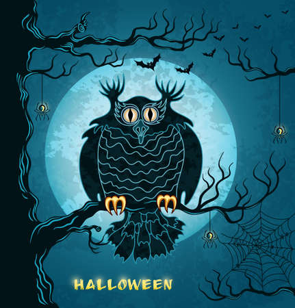 Terrible owl, full moon, bats and spiders  Blue grungy halloween background  Illustration
