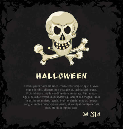 Card with skull and crossbones. Dark grungy halloween background. Illustration.