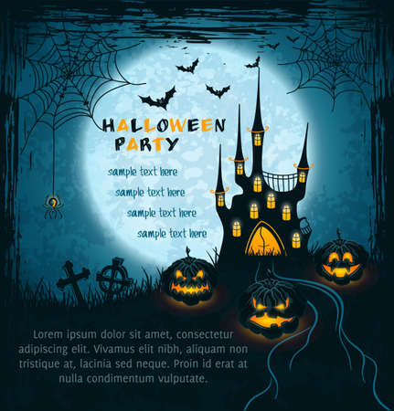 Card with spooky castle, full moon, tombstones and pumpkins. Blue grungy halloween background. Illustration.