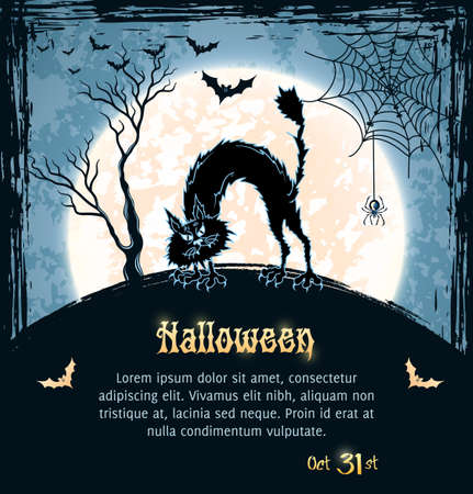 Spooky cat, full moon, bats, spider and web. Blue grungy halloween background.  Illustration.