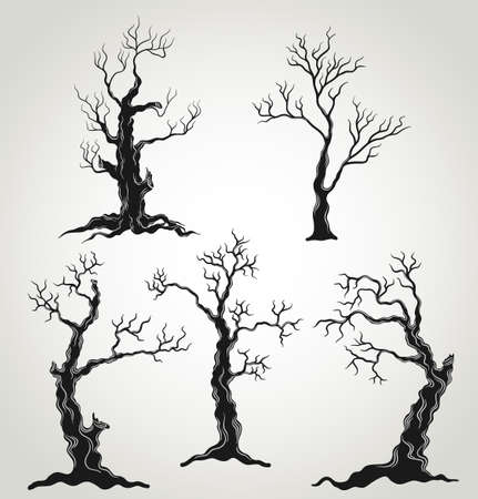 scary forest: Black trees silhouette isolated on white background. Halloween set.  Illustration.