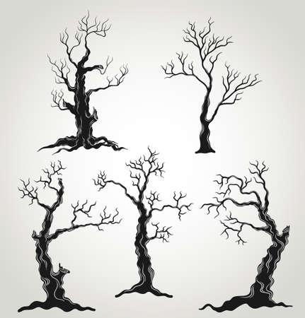 arboles secos: Árboles negros, silueta, aislado en fondo blanco. Halloween Juego. Ilustración. Vectores