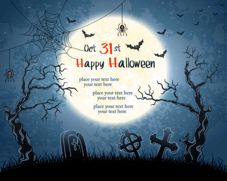 Blue grungy halloween background with full moon, trees, tombstones and bats.  Illustration.