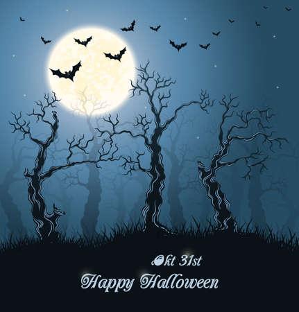 woodland  horror: Spooky forest. Blue halloween background. Illustration.