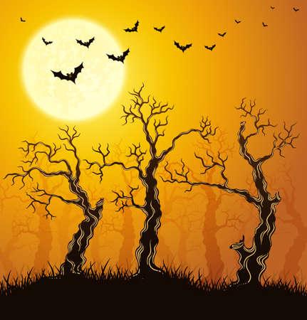 woodland  horror: Spooky forest. Orange halloween background. Illustration.