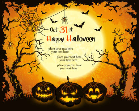 halloween party: Scary pumpkins, full moon, trees and bats. Orange grungy halloween background.Illustration.