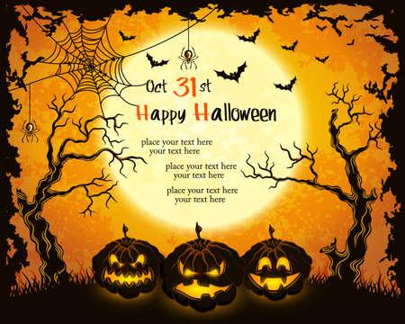 zucche halloween: Zucche Scary, luna piena, alberi e pipistrelli. Arancione grungy halloween background.illustration.
