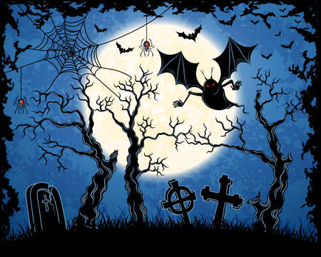 Spooky vampire on cemetery. Blue grungy halloween background.  Illustration. Vector