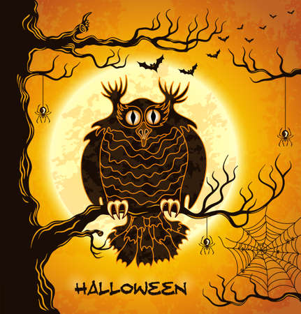 Terrible owl, full moon, bats and spiders. Orange grungy halloween background.  Illustration.