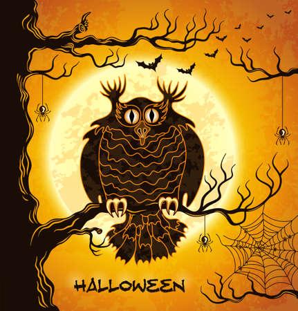 Gufo Terribile, luna piena, pipistrelli e ragni. Arancione grungy halloween background. Illustrazione.