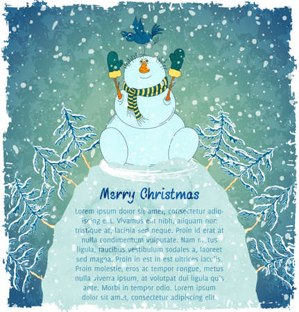 Merry snowman with bird on hill. Christmas landscape with snowfall. Blue vintage background.  Vector