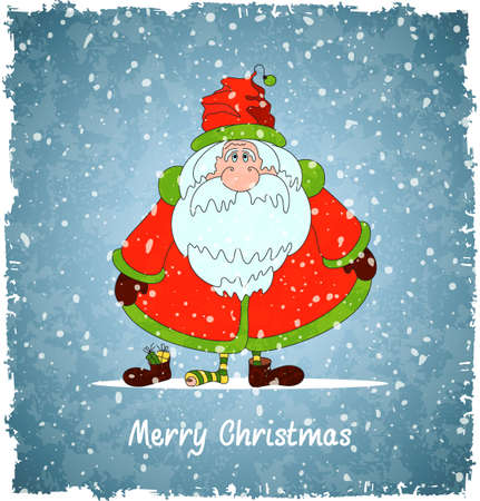 Merry Santa Claus. Vintage christmas background.  Vector