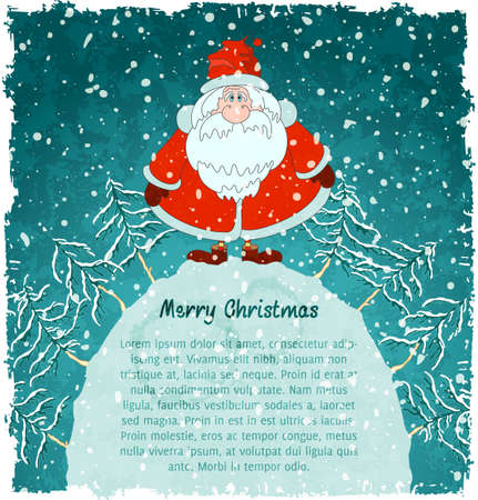 Merry Santa Claus on hill. Christmas landscape with snowfall. Blue vintage background.