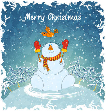Merry snowman with bird. Christmas landscape with snowfall. Blue vintage background.  Vector