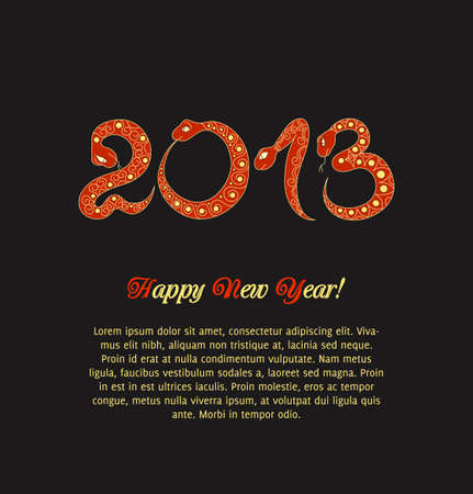 Christmas card with red snake  2013 new year   Vector