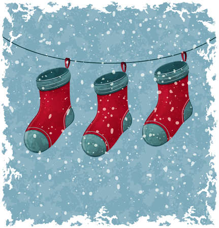 Christmas red socks  Blue vintage background  Illustration