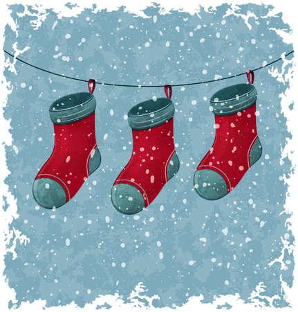Christmas red socks  Blue vintage background  Illustration
