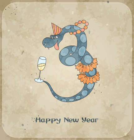 Christmas card with happy snake  2013 new year  Vintage background  Vector Illustration  Vector