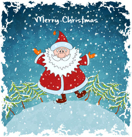 Card with merry Santa Claus  Christmas landscape with snowfall  Blue vintage background  Vector Illustration
